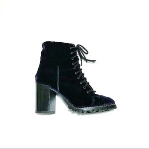 Report Signature Heeled Blue Velvet Lace Up Boots